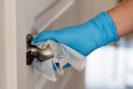 Coronavirus cleaning door handles